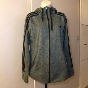 "adidas ""perfect hoodie"" heather grey sweater"